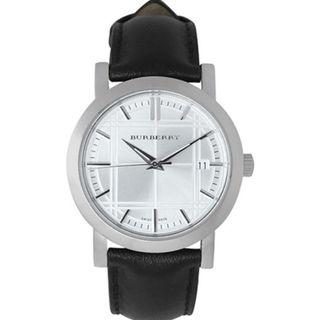 🚚 Burberry Heritage Silver Dial Stainless Steel Black Leather Men's Watch BU1382
