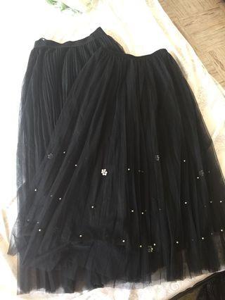 Black mesh long skirts