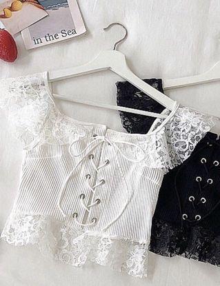 蕾丝短款上衣 白色