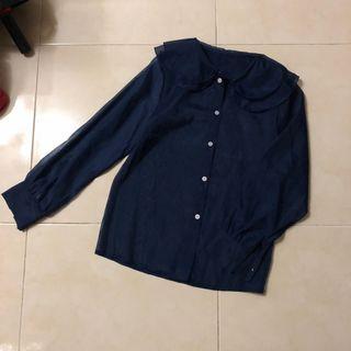 全新透膚娃娃領上衣 罩衫(深藍)