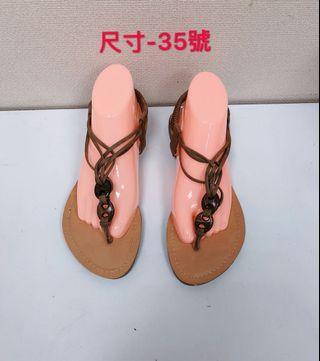 🚚 專櫃女性棕色編織涼鞋