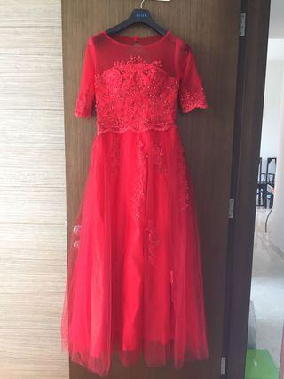 Red Evening Gown with lace-up back and 3/4 sleeves