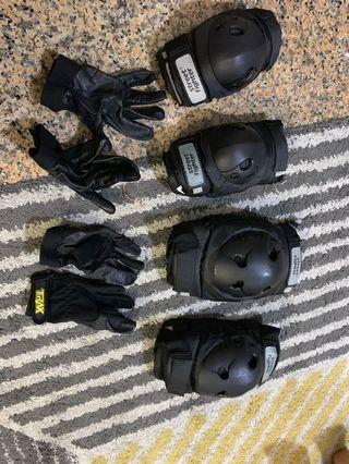 Knee Pad, Arm guard and gloves - Motorcycle (M size)