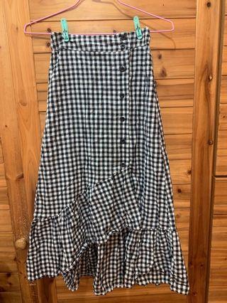 格紋魚尾裙 夏日薄款 黑白格子