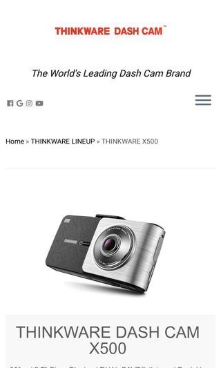 X500 thinkware front and rear car camera