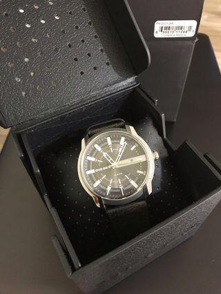 🚚 現貨 只戴一次 送男友 日本原廠DIESEL 手錶 55mm 皮帶 真皮大錶面 紳士型男 夜光男錶