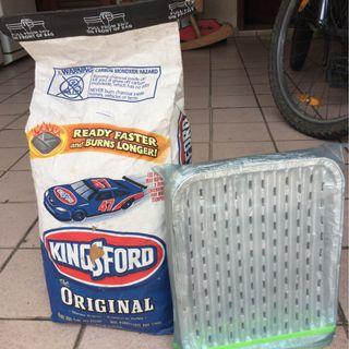 Bag of Charcoal and aluminium trays for grill