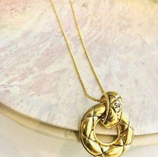 Auth Vtg SONIA RYKIEL Quilted Hoop Knocker Pendant Long Necklace