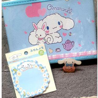 Sales! Blue Cinnamoroll gift set (table organizer, sticky post it notes pad, badges/ brooch/pin)