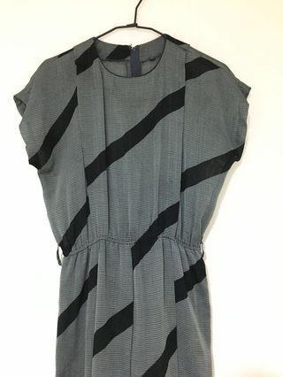 斜條紋 古著洋裝