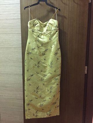 Gold Greg Sernack Evening Dress