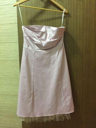 Soft Pink Strapless Cocktail Dress by Out with Evie