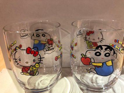 日本 🇯🇵 Hello kitty 蠟筆小新 crossover 玻璃杯 Sanrio