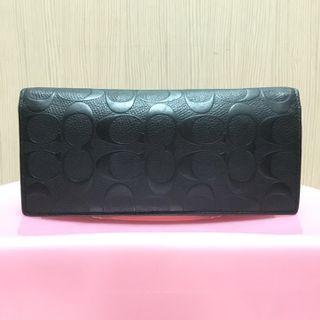 正品 COACH 黑色經典滿版浮雕LOGO真皮對開長夾