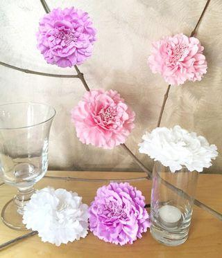 a92ef4d47 Romantic White Light Pink Lavender Large Peony Flower Hair Clip Hair Piece.