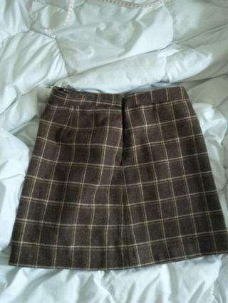 厚毛呢格紋咖啡短裙
