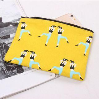 Yellow canvas purse wallet with zipper