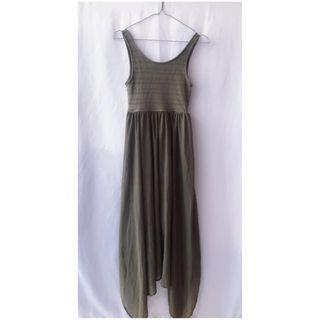 H&M 波希米亞 雙U領簍空蕾絲拼接雪紡長洋裝(墨綠)