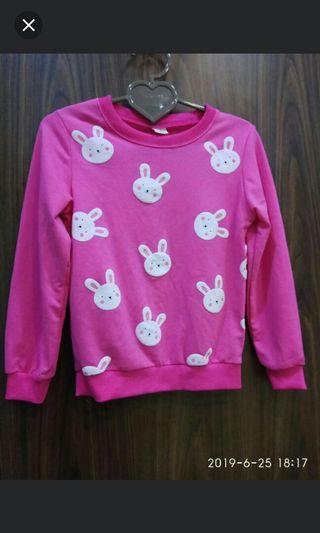 ❄凱薩琳安娜 時尚創意店❄~二手9成新~Baby Beao女童可愛小白兔粉紅色長袖上衣(15號)130-140公分(6歲-7歲)