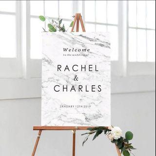 Marble Wedding Welcome Signage