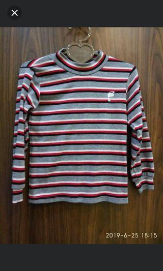 ❄凱薩琳安娜 時尚創意店❄~二手~男女童~橫條紋長袖高領上衣(15號)120-130公分(5歲-6歲)偏比較小件