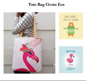 Civeto Eco Printed Canvas Tote Bag / Tas Bahu Pundak Shoulder