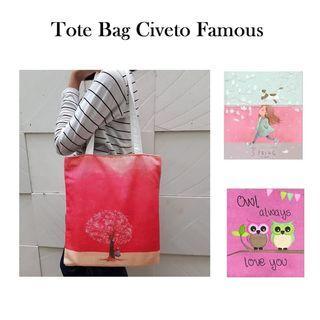 Civeto Famous Printed Canvas Tote Bag / Tas Bahu Pundak Shoulder