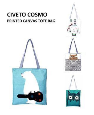 Civeto Cosmo Printed Canvas Tote Bag / Tas Selempang