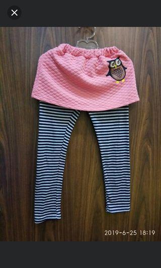❄凱薩琳安娜 時尚創意店❄~二手~女童可愛貓頭鷹橫條紋長褲(7-8歲)140-150公分17號