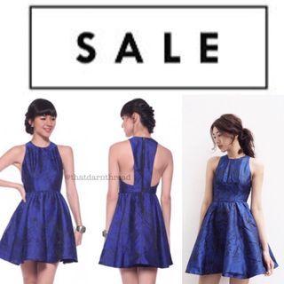 LB Covet Jacquard Dress in Royal Blue