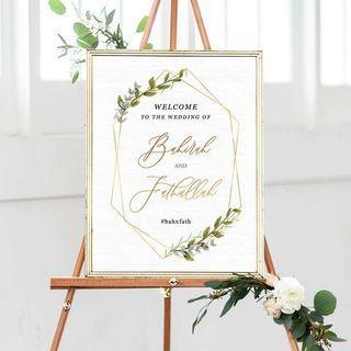 🚚 Geometric Wedding Welcome Signage