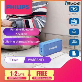 Philips BT64A Portable Bluetooth Speakers with FM radio (Blue) Connect with Smartphone Laptop
