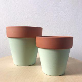 Mint Green Painted Terracotta Planter Plant Pot