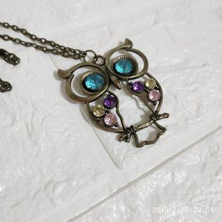 Maybee 飾品 貓頭鷹 寶石 閃石 頸鏈 毛衣鏈