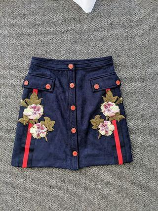 Gucci inspired - faux suede navy skirt - size S