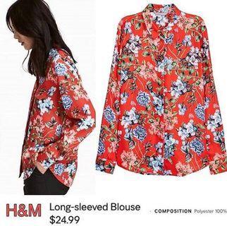 H&M Long Sleeve Blouse Original Red