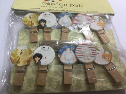 Baymax Wooden Clips