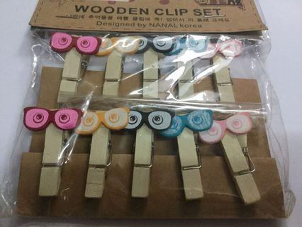 Eyeglasses Wooden Clips Set