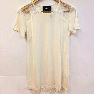 New Dolce & gabbana white withblace long top dress size 40
