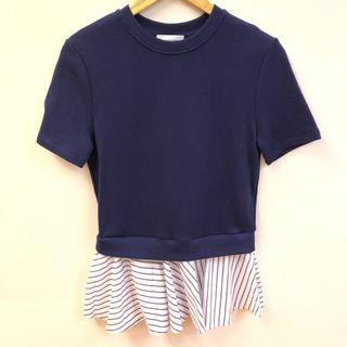 Carven navy blue knit with shirt top size XS