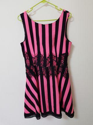 🚚 條紋粉色洋裝