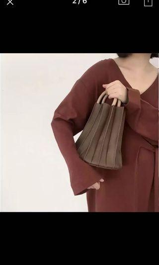 Brown Pleats Sling Bucket Bag Summer Holiday