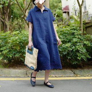 全麻定位刺繡連衣裙🉐少量4色