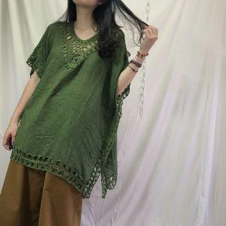 🚚 編織 簍空 薄料 寬鬆 罩衫上衣