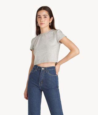 Pomelo slim fit crop TOP in Grey