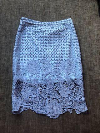 ZALORA Blue Laced Midi Skirt