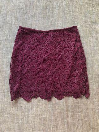 H&M Burgundy Lace Skirt