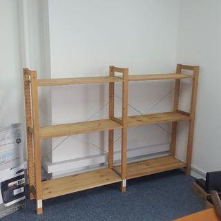 Wooden Shelving , 2 Racks With 3 Levels Each Rack,  Price At $60  Call 90899511