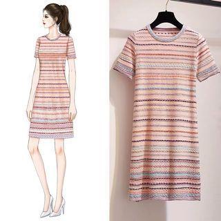 Knitted strip Dress/Pink strip Knit Tee dress/midi Tshirt Dress/mds