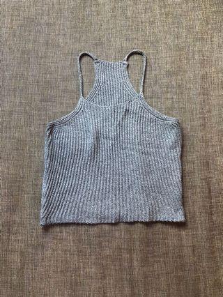 Grey Halter Knit Top